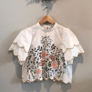 Zara Trafaluc embroidered blouse